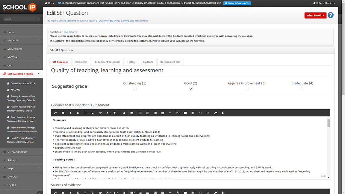 SchooliP - SchooliP supports many forms of self evaluation forms including Ofsted, ASCL and ISI. Staff can collaborate to complete their responses. Leaders may then delegate and approve responses in preparation for their next inspection.