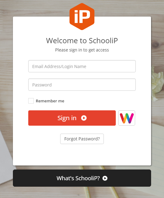 SchooliP log in screen - Appraisal software