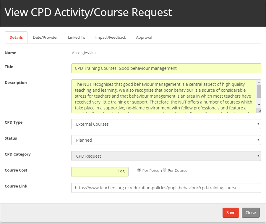 SchooliP - View CPD Activity/Course Request